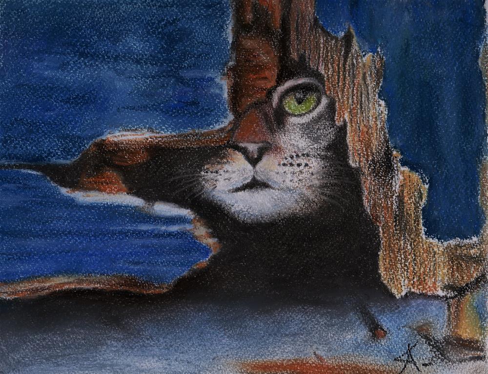 """""""hide and seek cat"""" original fine art by Konstantia Karletsa"""