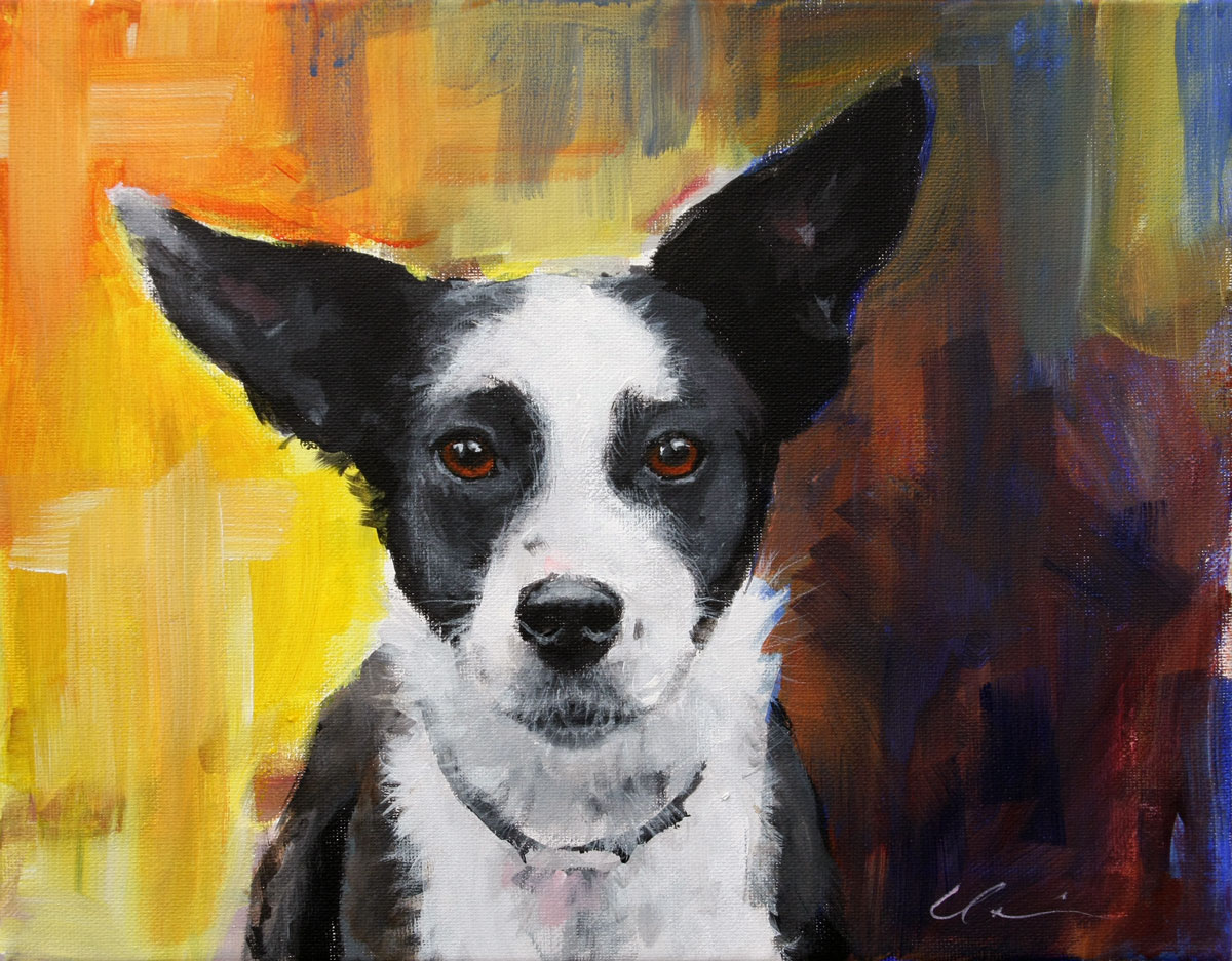 """New Painting Big City Dog"" original fine art by Clair Hartmann"