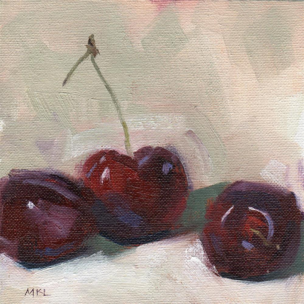 """Three Cherries"" original fine art by Marlene Lee"