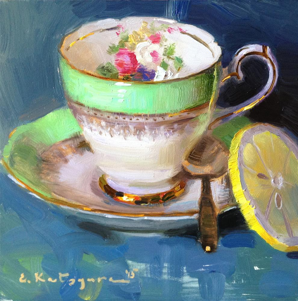 """Green Teacup and Lemon"" original fine art by Elena Katsyura"