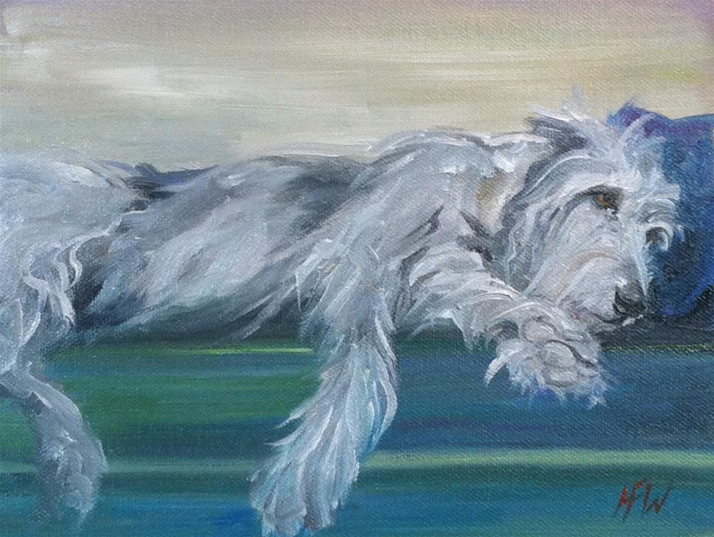 """Wolfhound and his Pillow"" original fine art by H.F. Wallen"
