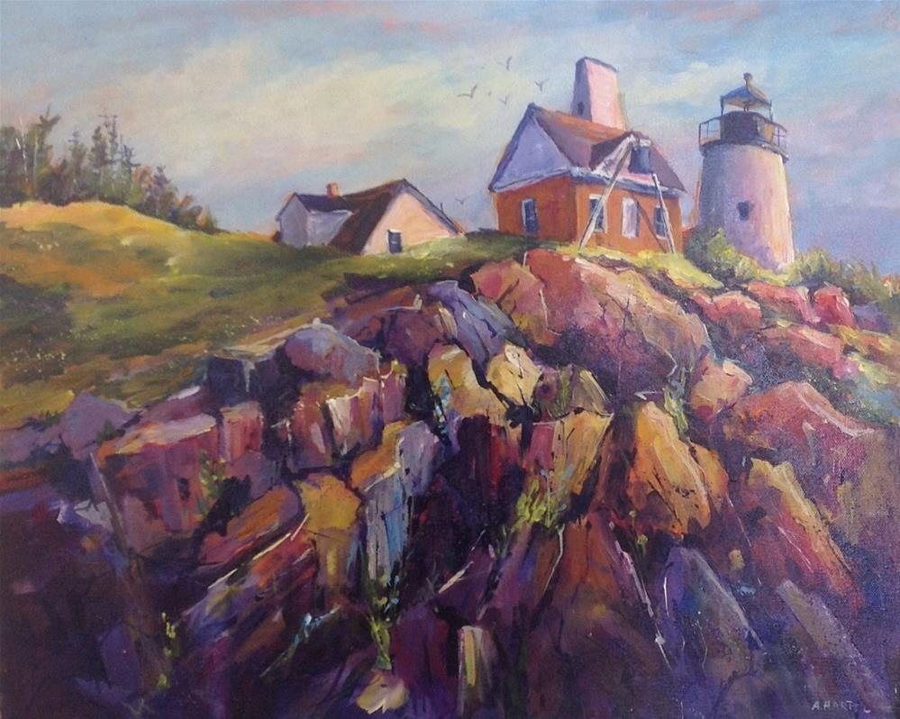 """Maine lighthouse seascape landscape ocean rocks"" original fine art by Alice Harpel"