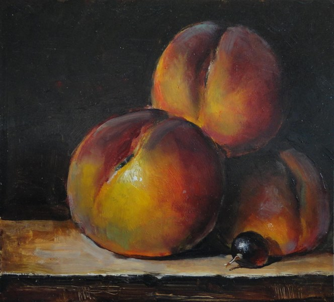 """Peaches"" original fine art by Kirk Miller"