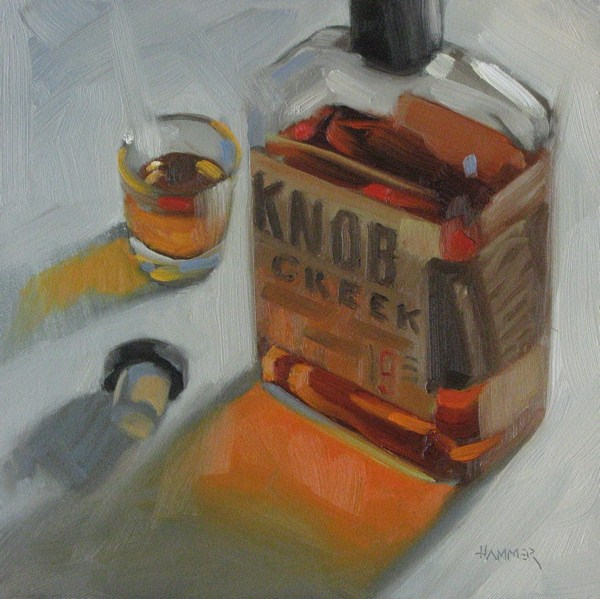 """Knob Creek 6x6 oil"" original fine art by Claudia Hammer"