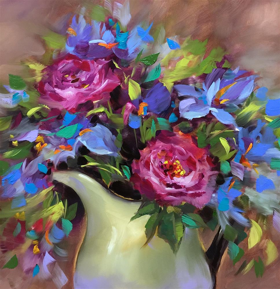 """Come to Life Roses and Irises"" original fine art by Nancy Medina"