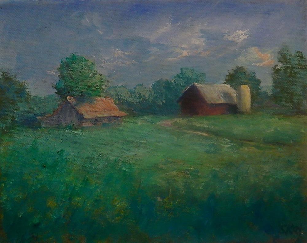"""Barn and Silo"" original fine art by Sharon Kay Baker"