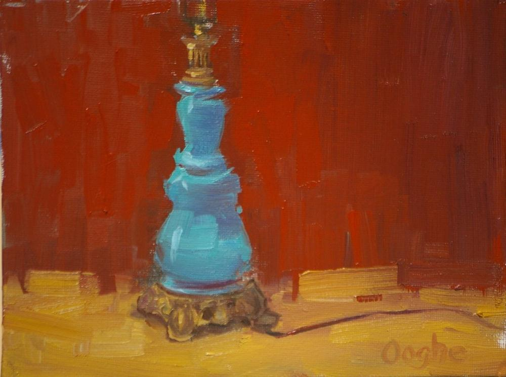 """""""Blue Lamp Red Background"""" original fine art by Angela Ooghe"""