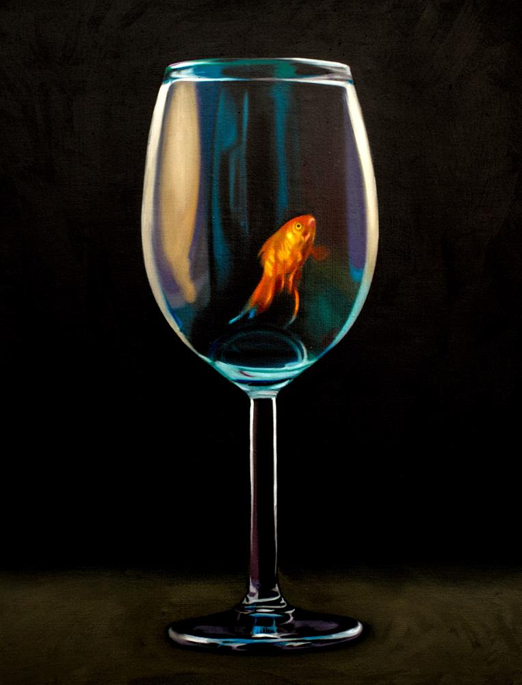"""Goldfish Wine Glass #2"" original fine art by Lauren Pretorius"