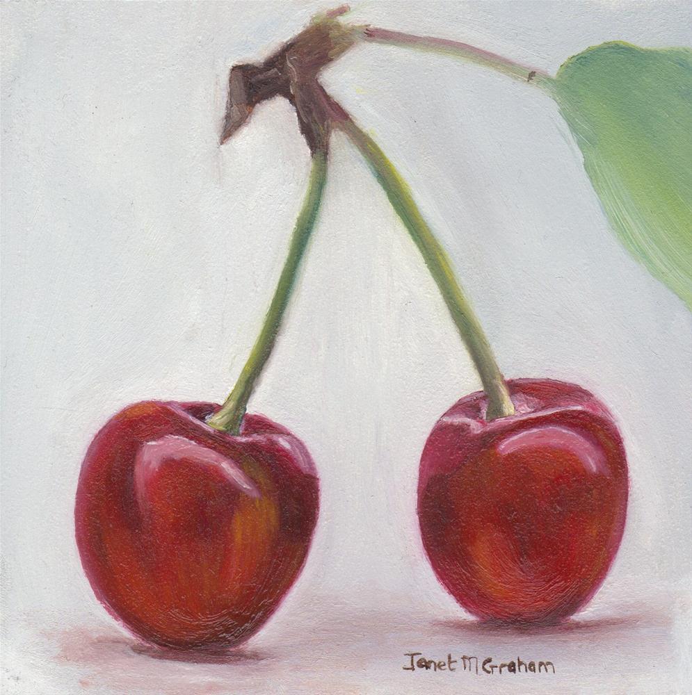 """Cherries"" original fine art by Janet Graham"
