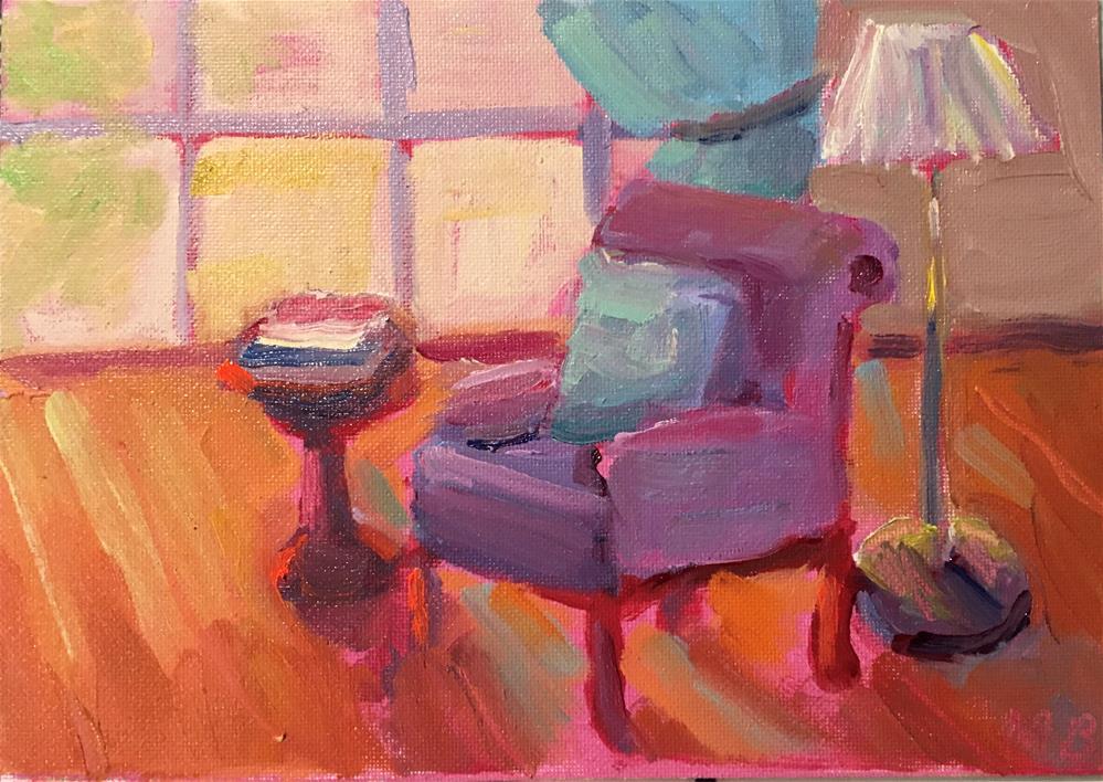"""Lavender Chair"" original fine art by Marcia Bergtholdt"