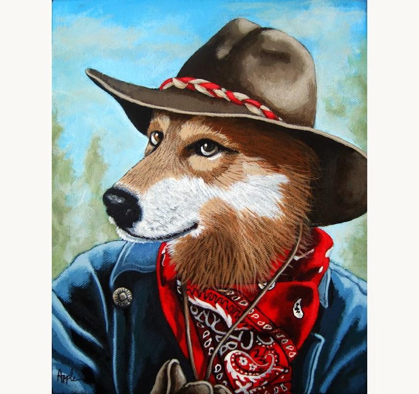 """""""Colorado Cowboy Wolf animal portrait fantasy"""" original fine art by Linda Apple"""