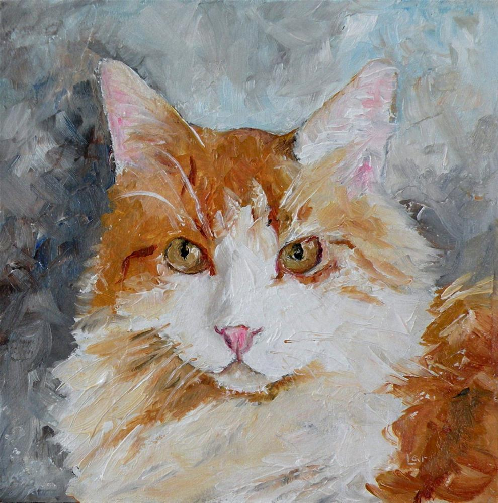 """CORY CAT ORIGINAL 4X4 MINI ON PANEL © SAUNDRA LANE GALLOWAY"" original fine art by Saundra Lane Galloway"