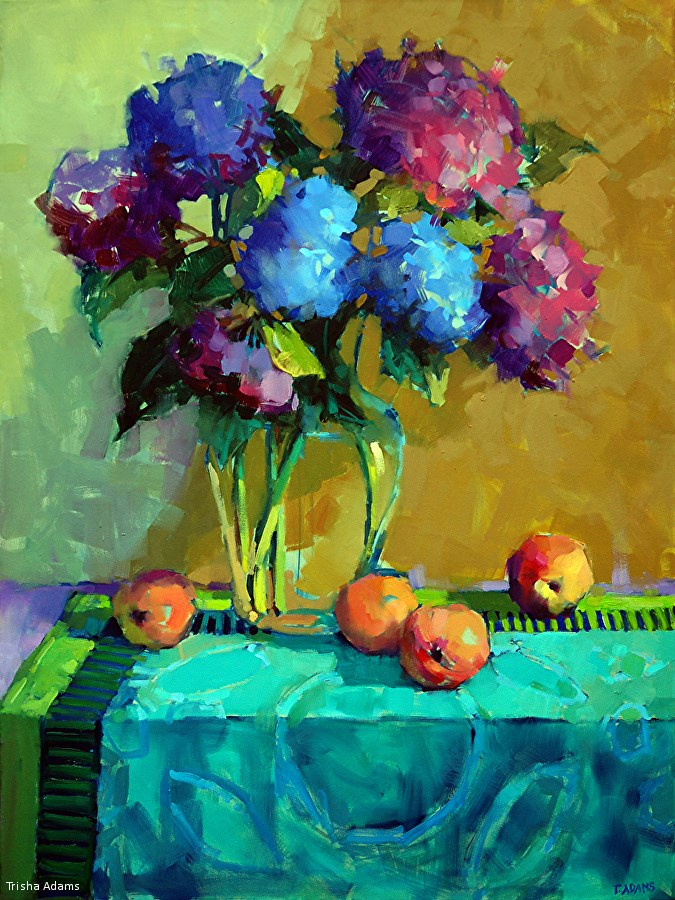 """Violet Hydrangeas"" original fine art by Trisha Adams"