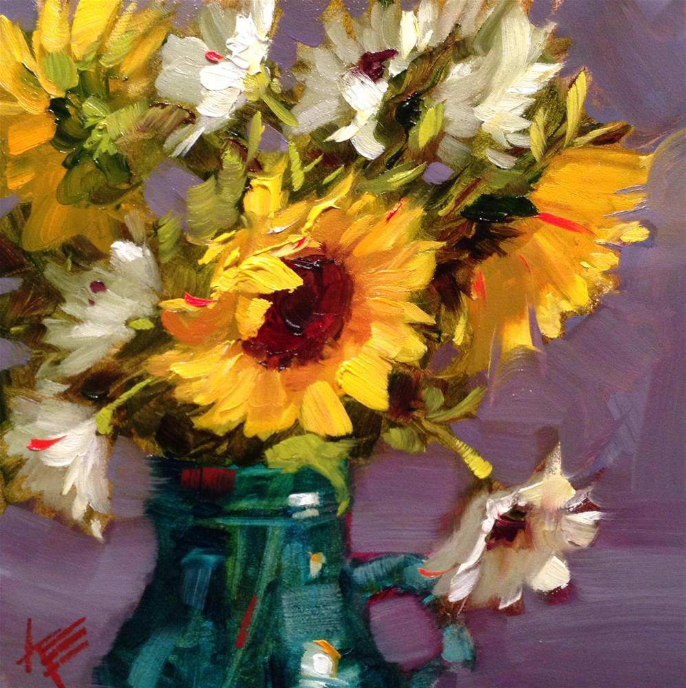 """Sunflowers & Daisies in milk jug"" original fine art by Krista Eaton"