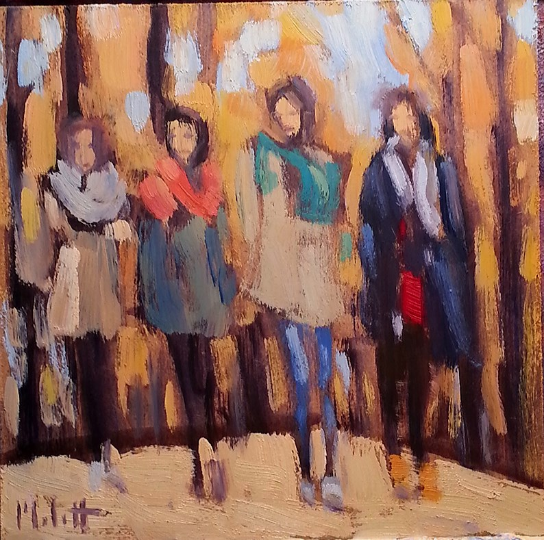 """Girlfriends Sisters In the Park Autumn Contemporary Art Heidi Malott"" original fine art by Heidi Malott"