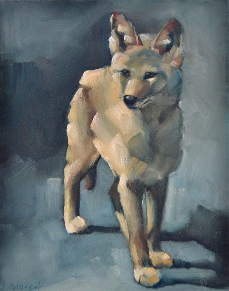 """Moonlight Coyote"" original fine art by Cheryl Wilson"