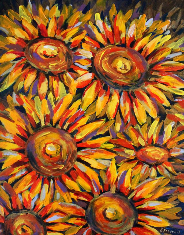 """Sunflowers in Style"" original fine art by Khrystyna Kozyuk"