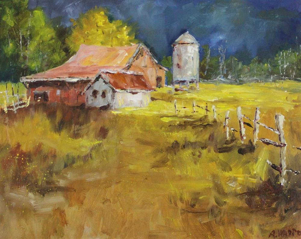 """Original oil landscape barn rural country meadow painting"" original fine art by Alice Harpel"