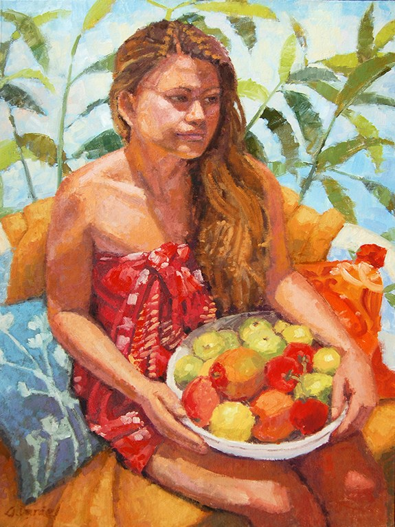 """Woman with Fruit"" original fine art by Andrew Daniel"