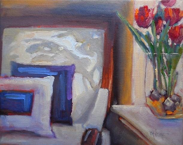 """Daily Painting, Small Oil Painting, Interior Still Life, White Chair by Carol Schiff, 8x10.75 Still"" original fine art by Carol Schiff"