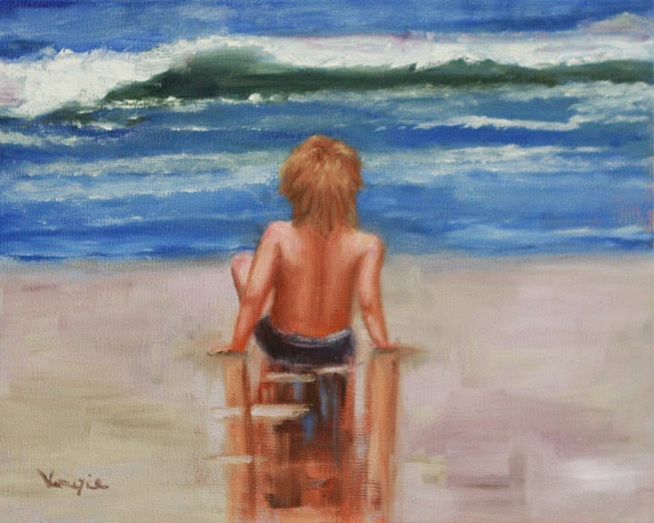 """Figure painting with young boy on the beach"" original fine art by Carrie Venezia"