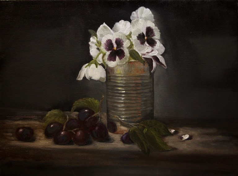 """Pansies in a Can"" original fine art by Mary Datum"