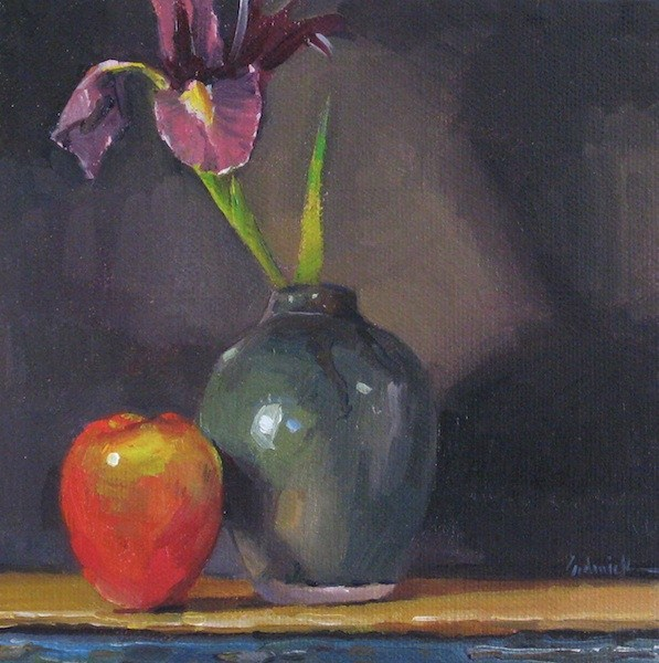 """Iris and Red Apple still life fruit and flowers floral oil painting"" original fine art by Sarah Sedwick"