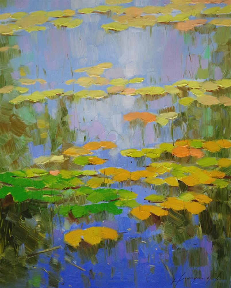 """Cobalt Pond, Waterlilies Garden, Original oil Painting, One of a kind"" original fine art by V Y"