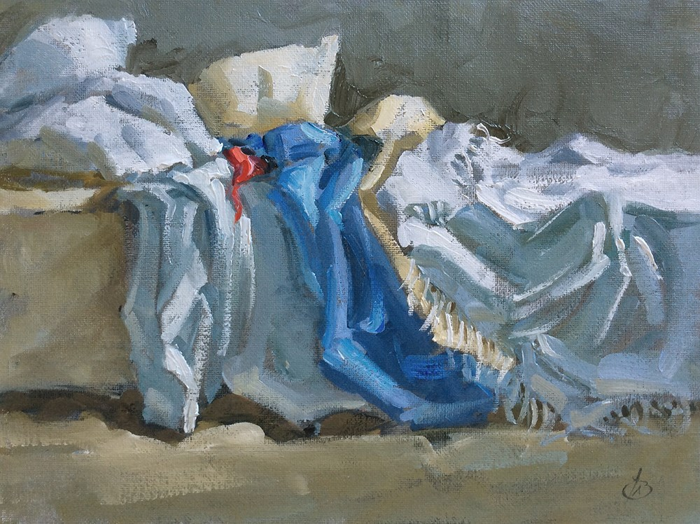 """RUMPLED BED"" original fine art by Tom Brown"