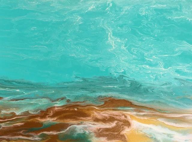 """Contemporary Abstract Seascape, Beach Painting, Fine Art, Coastal Emerald Waters III by Internatio"" original fine art by Kimberly Conrad"