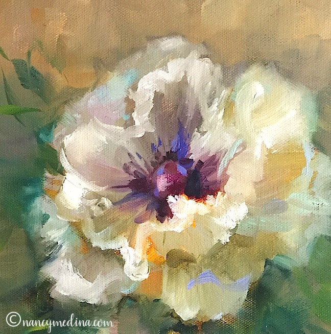 """White Poppy Duet"" original fine art by Nancy Medina"