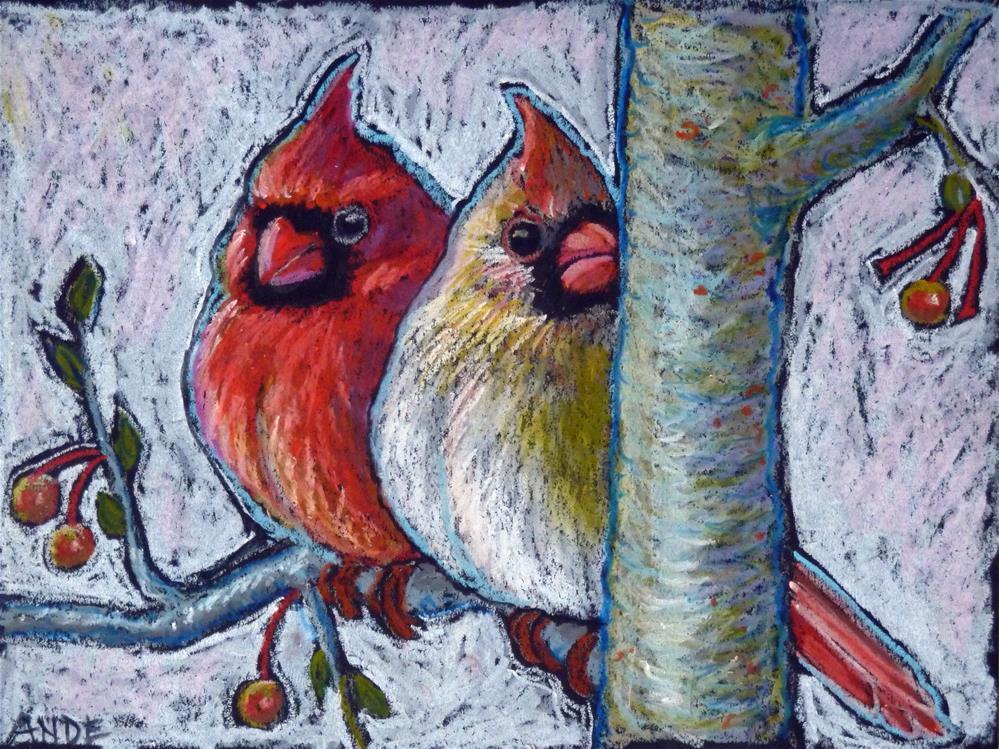 """Winter Cardinal Pair"" original fine art by Ande Hall"