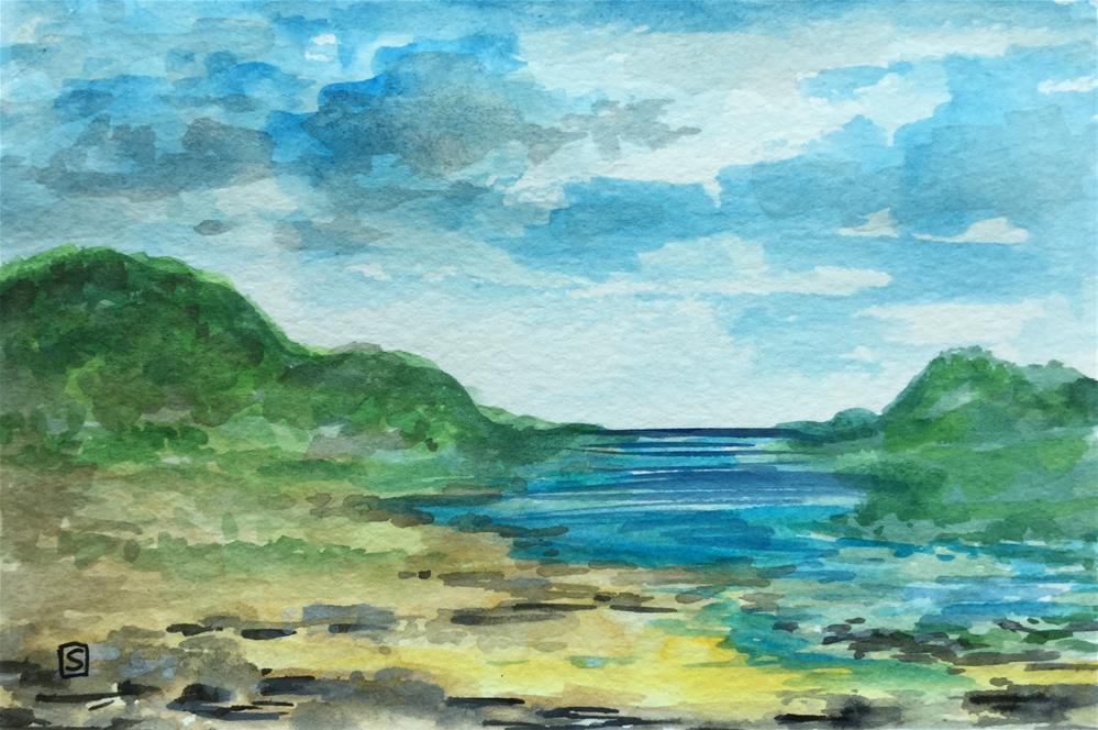 """6083 - The River Greets The Sea with mat"" original fine art by Sea Dean"