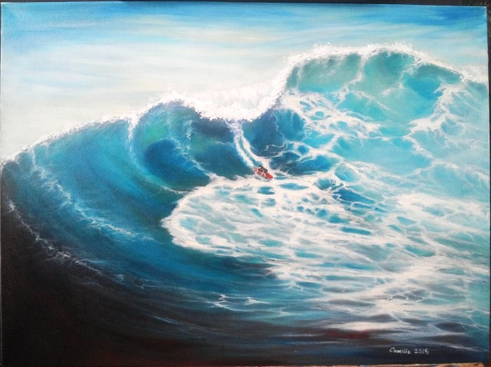 """Surfing a Wave"" original fine art by Camille Morgan"