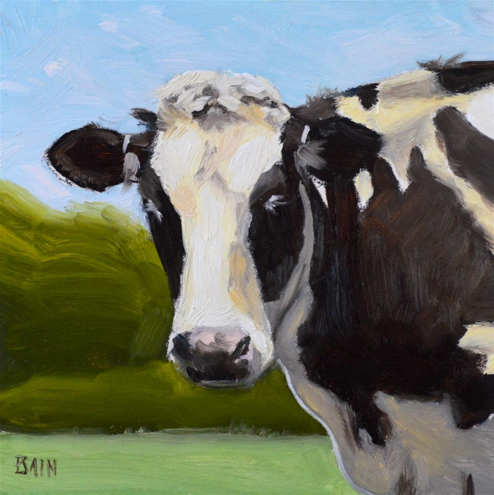"""Cow no. 5"" original fine art by Peter Bain"