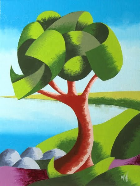 """Mark Webster - Abstract Geometric Oak Tree Lake Landscape Oil Painting"" original fine art by Mark Webster"