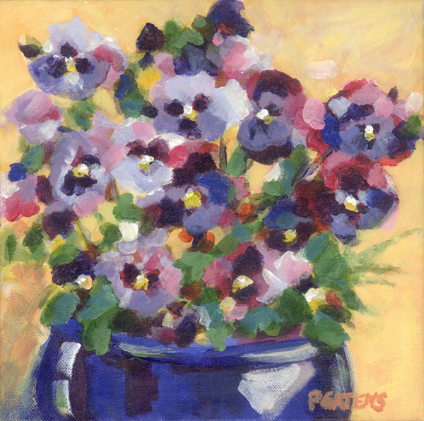 Pansy Pot original fine art by Pamela Gatens