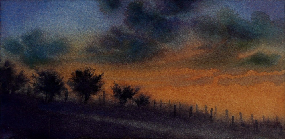 """Dusk over Olive Orchards"" original fine art by Arena Shawn"