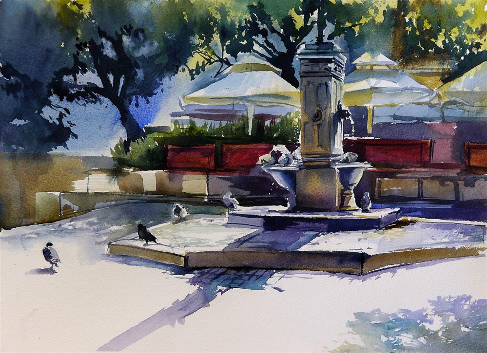 """fountain in the old town"" original fine art by Beata Musial-Tomaszewska"