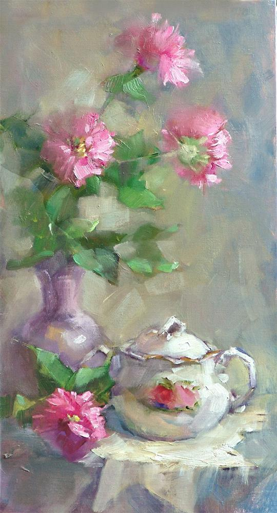 """Bee Balm and Sugarbowl"" original fine art by Barbara Schilling"