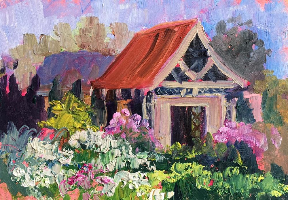 """Pagoda in Cashiers, NC"" original fine art by Jennifer Stottle Taylor"