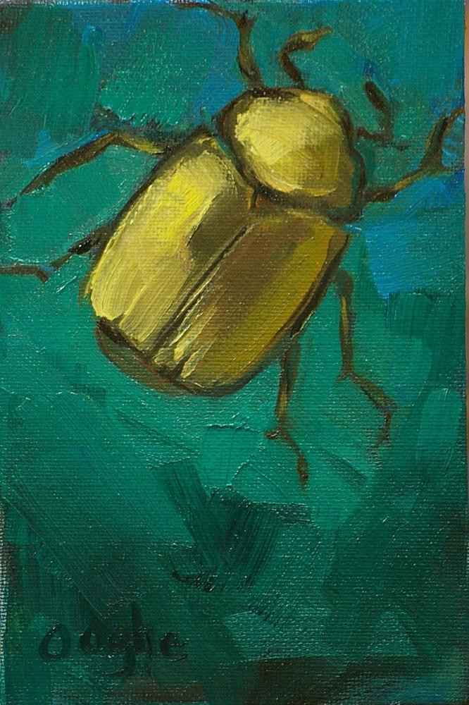 """Golden Scarab"" original fine art by Angela Ooghe"