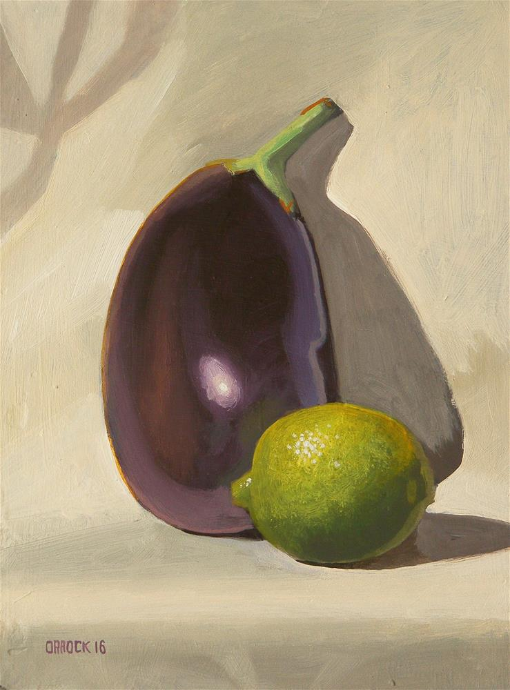 """Lime and Aubergine"" original fine art by Peter Orrock"