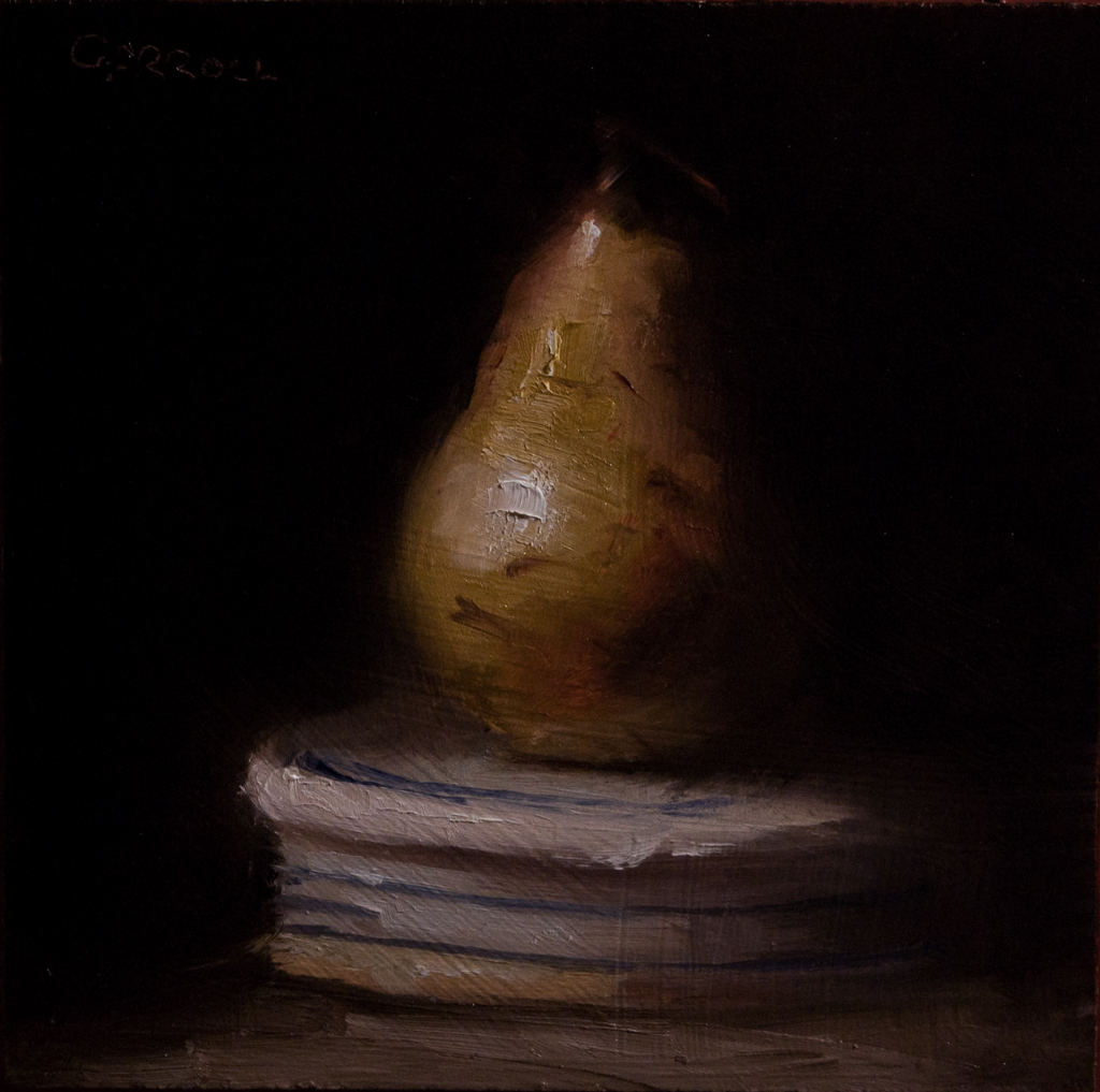 """Pear on Ginger Jar Lid"" original fine art by Neil Carroll"