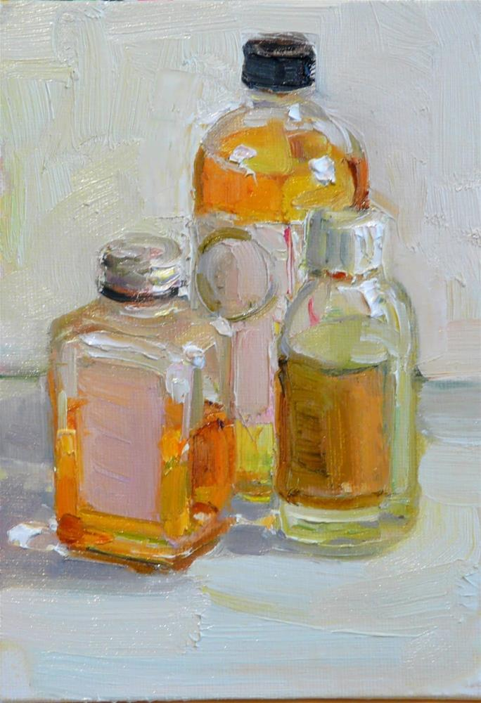 """3 Medium Bottles,still life,oil on canvas,7x5,price$175"" original fine art by Joy Olney"
