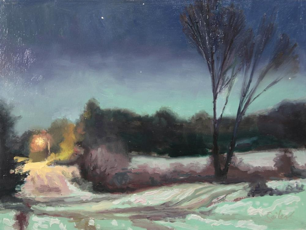 """""""Wee Hours Winter Moonlight"""" original fine art by Larry Seiler"""