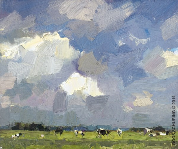 """LSU01-2014 Schuring Cows under Summer Sky"" original fine art by Roos Schuring"