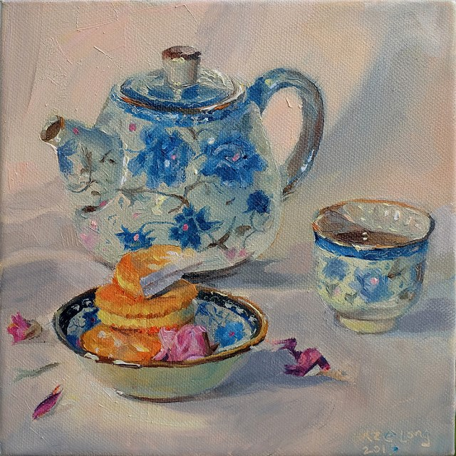 """Peranakan Tea Time"" original fine art by Haze Long"