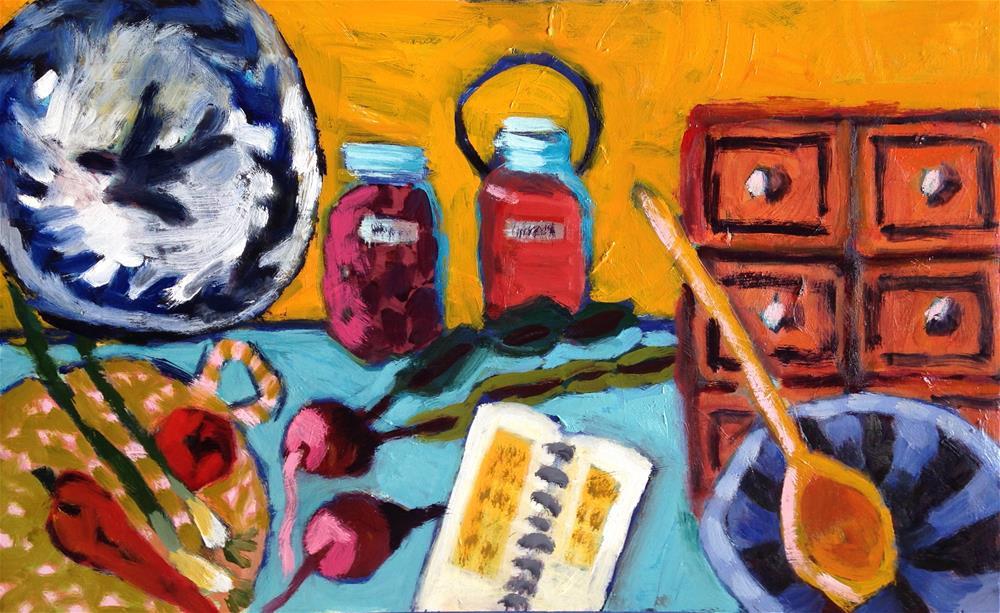 """Beets, Spoons, Bowls"" original fine art by Pamela Hoffmeister"