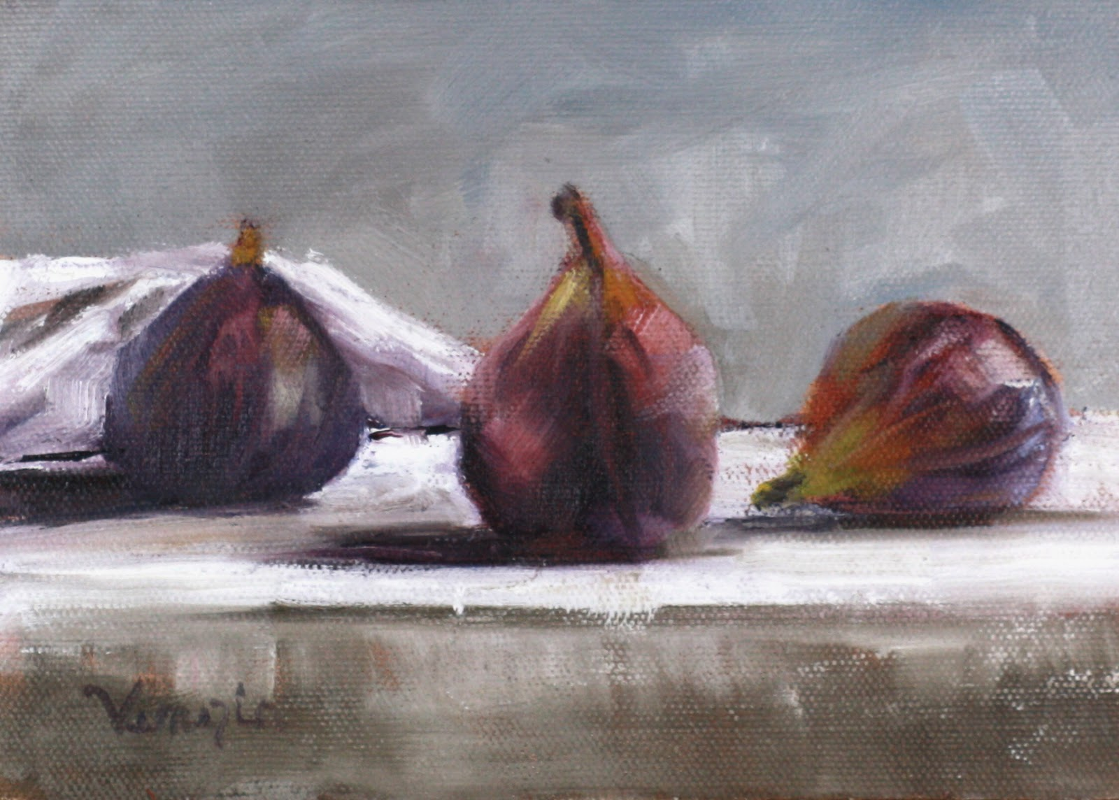 """""""still life oil painting with three figs"""" original fine art by Carrie Venezia"""